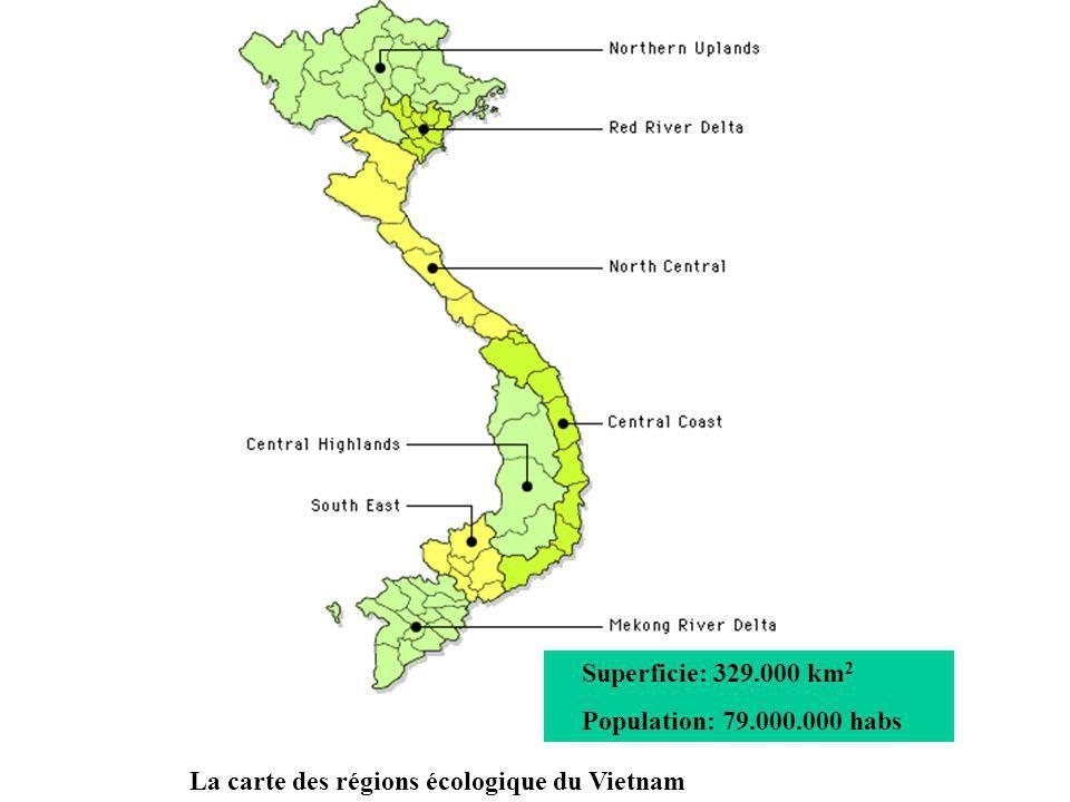 Superficie: 329.000 km2 Population: 79.000.000 habs La carte des régions écologique du Vietnam