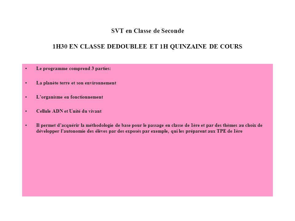 SVT en Classe de Seconde 1H30 EN CLASSE DEDOUBLEE ET 1H QUINZAINE DE COURS