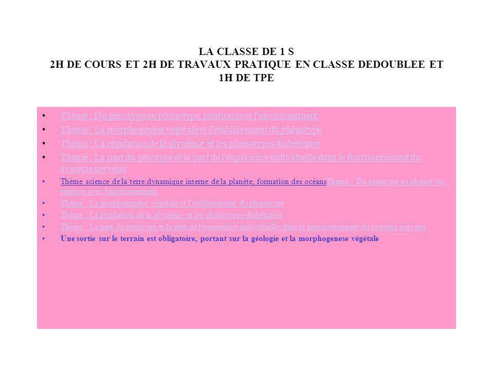 LA CLASSE DE 1 S 2H DE COURS ET 2H DE TRAVAUX PRATIQUE EN CLASSE DEDOUBLEE ET 1H DE TPE