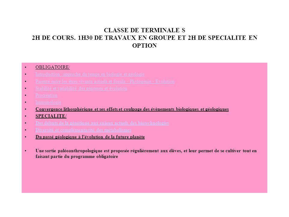 CLASSE DE TERMINALE S 2H DE COURS