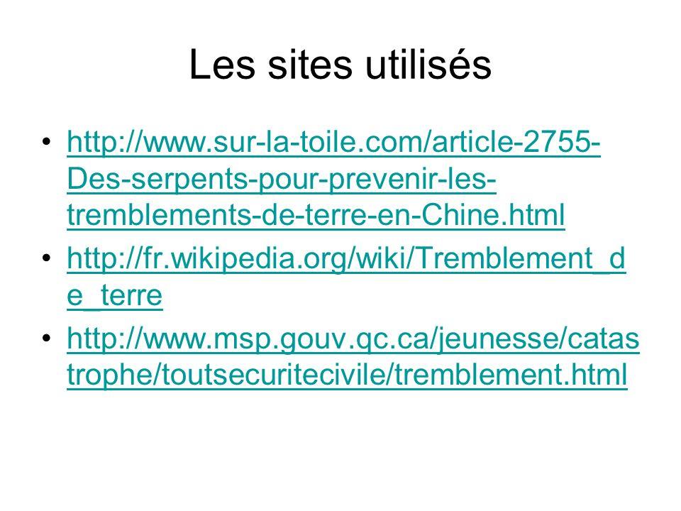 Les sites utiliséshttp://www.sur-la-toile.com/article-2755-Des-serpents-pour-prevenir-les-tremblements-de-terre-en-Chine.html.