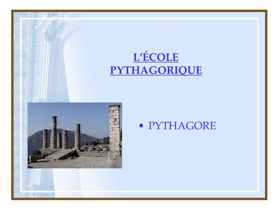 L'ÉCOLE PYTHAGORIQUE PYTHAGORE