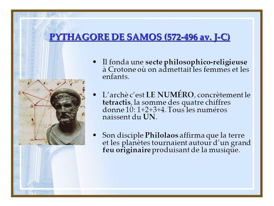 PYTHAGORE DE SAMOS (572-496 av. J-C)