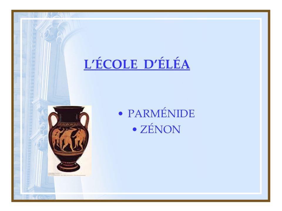 L'ÉCOLE D'ÉLÉA PARMÉNIDE ZÉNON