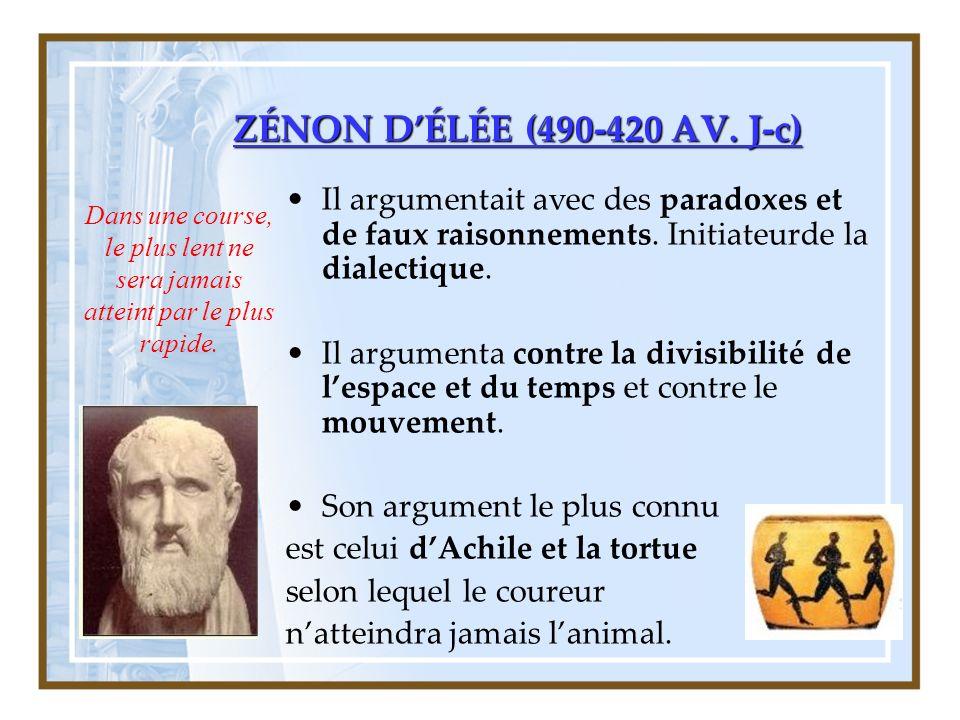 ZÉNON D'ÉLÉE (490-420 AV. J-c) Il argumentait avec des paradoxes et de faux raisonnements. Initiateurde la dialectique.