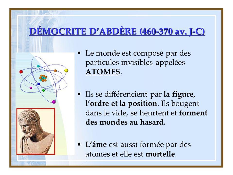 DÉMOCRITE D'ABDÈRE (460-370 av. J-C)