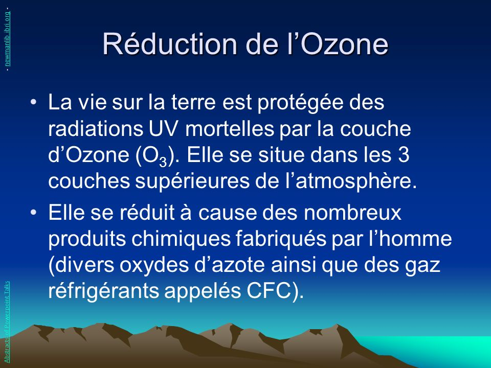 Réduction de l'Ozone - newmanlib.ibri.org -