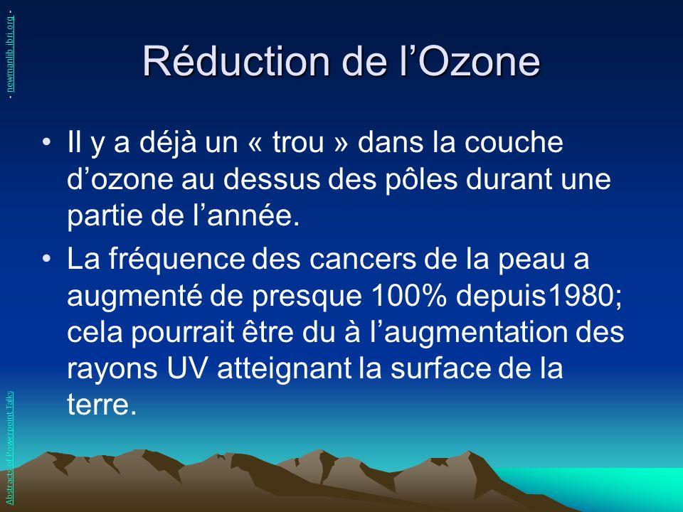 Réduction de l'Ozone - newmanlib.ibri.org - Il y a déjà un « trou » dans la couche d'ozone au dessus des pôles durant une partie de l'année.