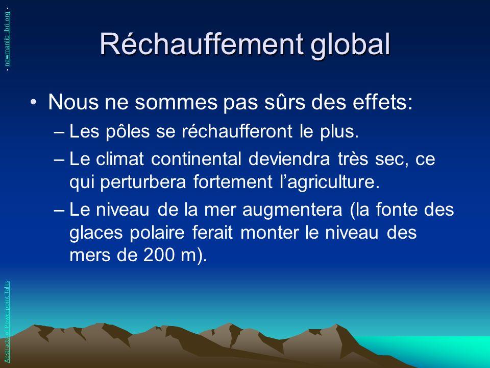 Réchauffement global Nous ne sommes pas sûrs des effets:
