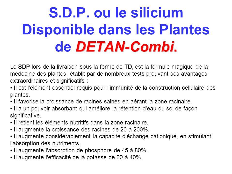 S.D.P. ou le silicium Disponible dans les Plantes de DETAN-Combi.