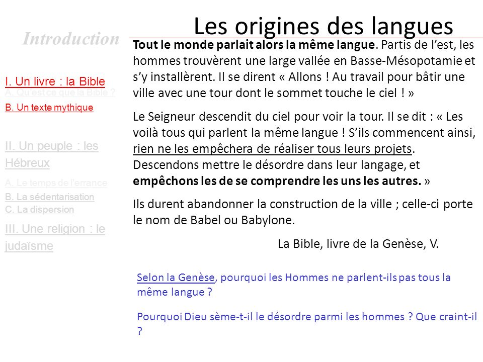 Les origines des langues