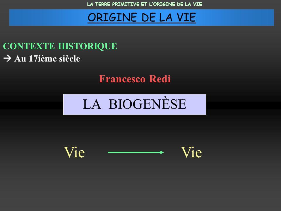 Vie Vie LA BIOGENÈSE ORIGINE DE LA VIE Francesco Redi