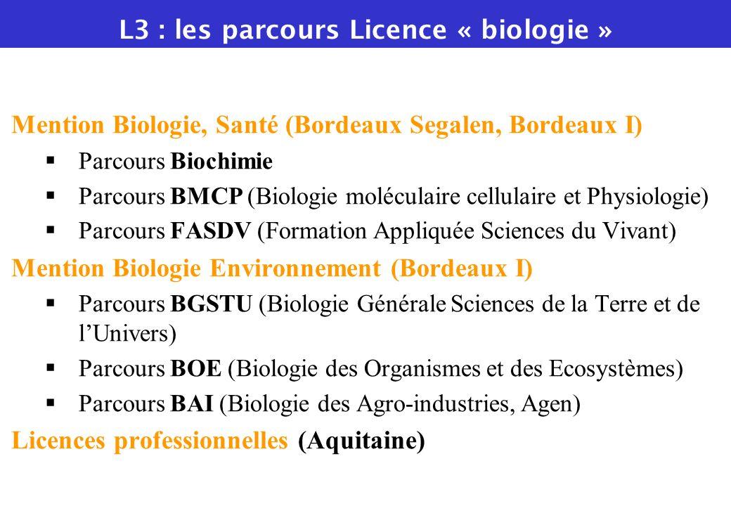L3 : les parcours Licence « biologie »