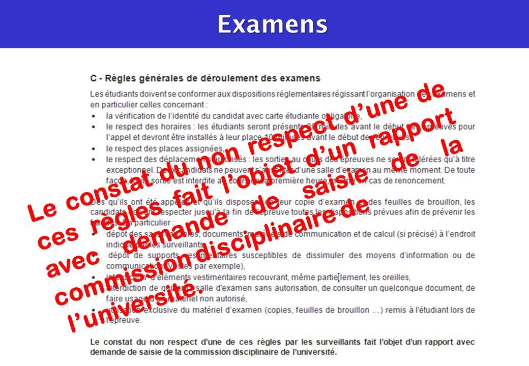 Examens Le constat du non respect d'une de ces règles fait l'objet d'un rapport avec demande de saisie de la commission disciplinaire de.