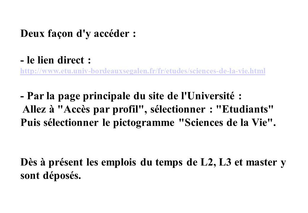 - Par la page principale du site de l Université :
