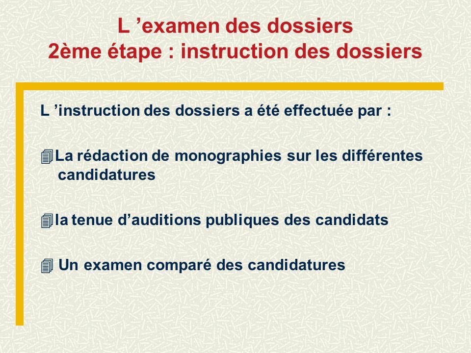L 'examen des dossiers 2ème étape : instruction des dossiers