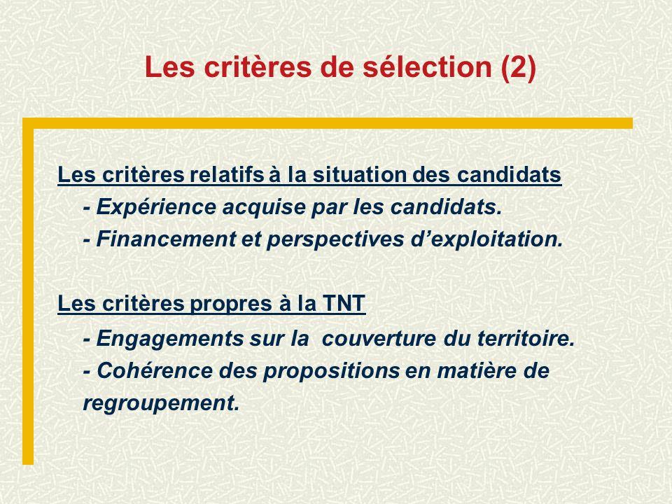 Les critères de sélection (2)