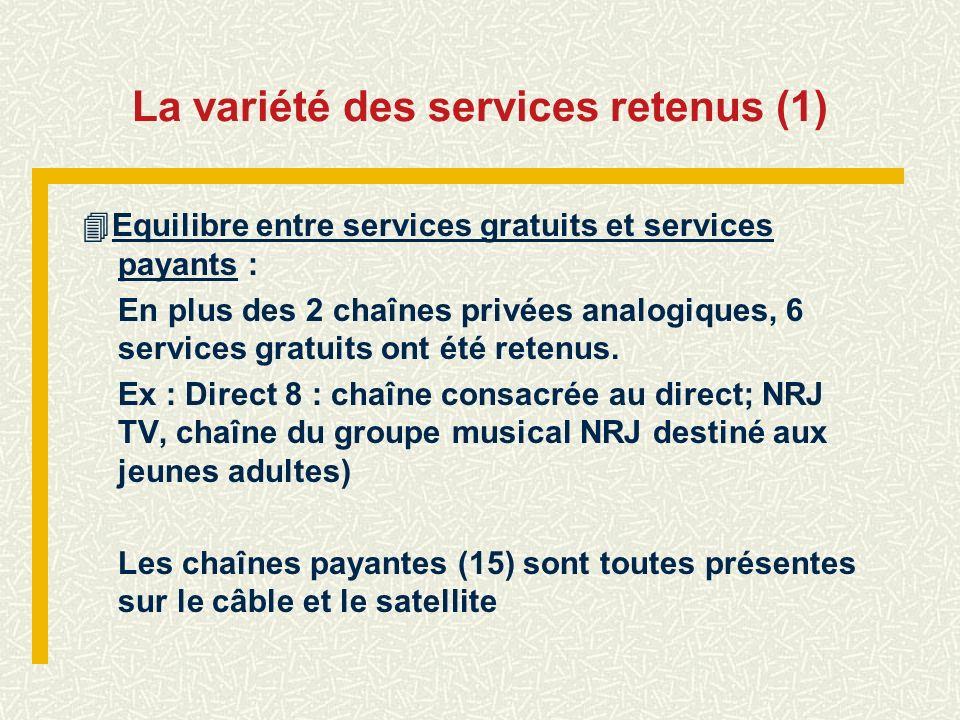 La variété des services retenus (1)
