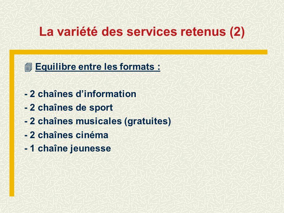 La variété des services retenus (2)