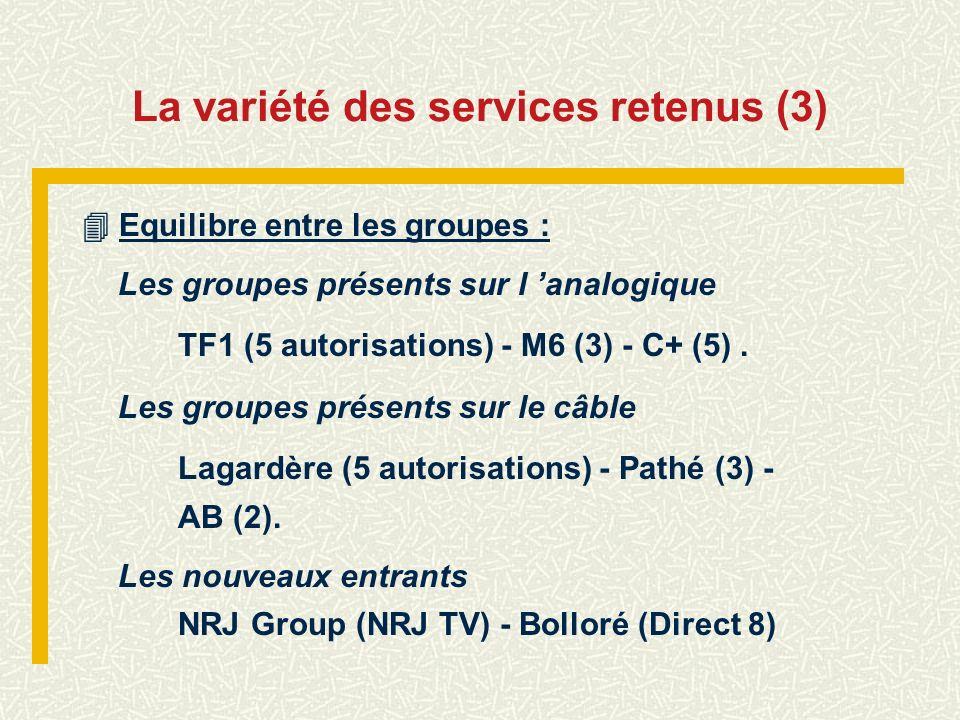 La variété des services retenus (3)