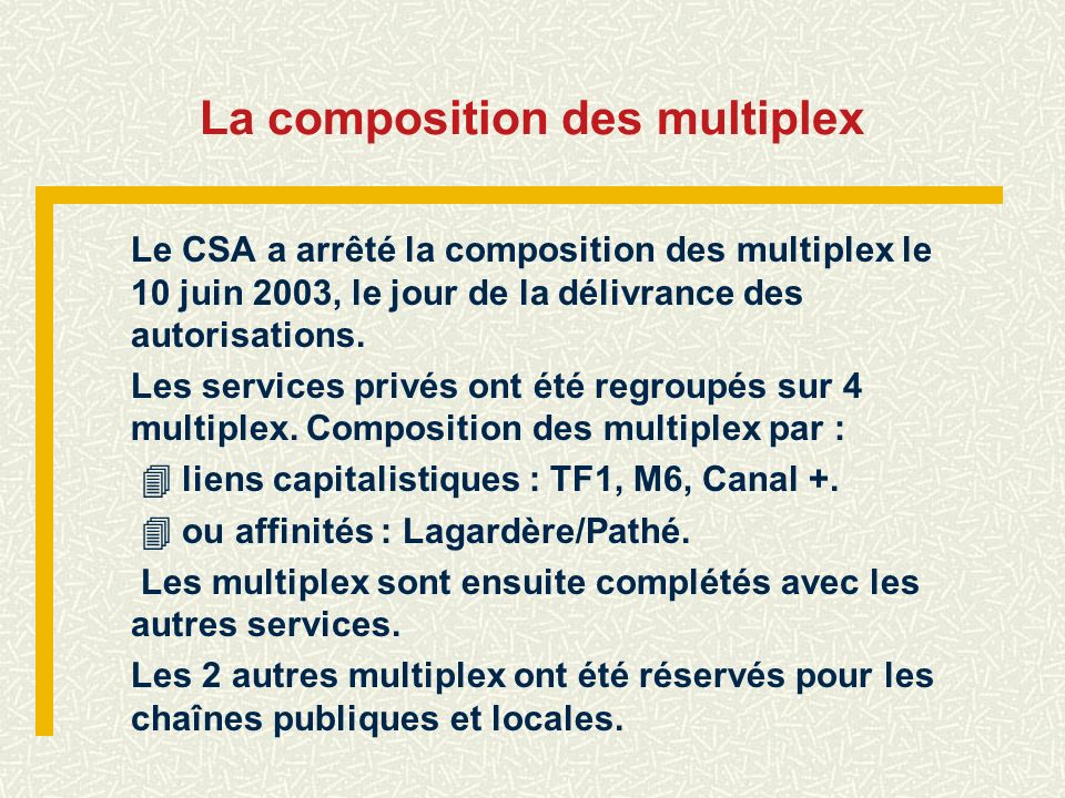 La composition des multiplex