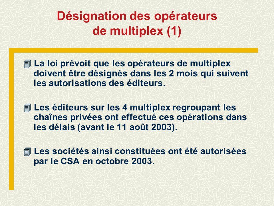 Désignation des opérateurs de multiplex (1)