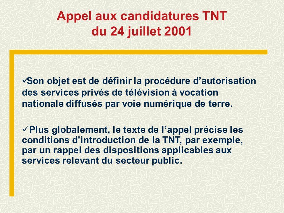 Appel aux candidatures TNT
