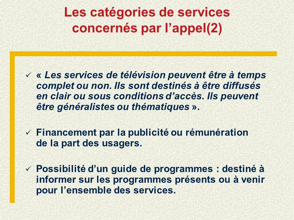 Les catégories de services concernés par l'appel(2)