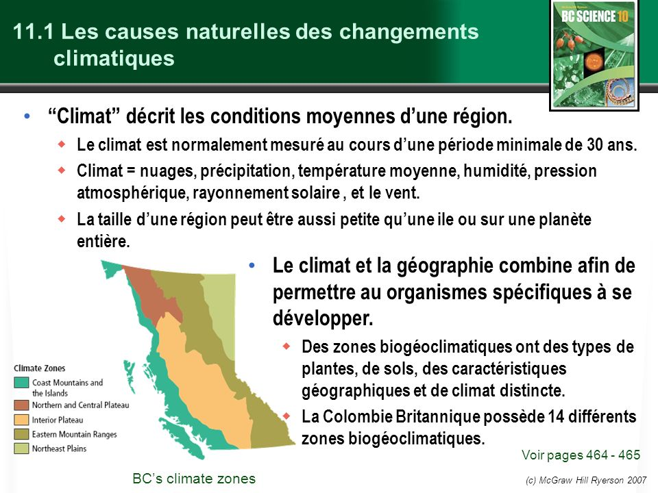 11.1 Les causes naturelles des changements climatiques