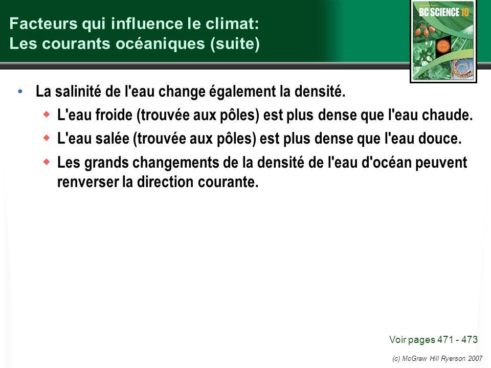 Facteurs qui influence le climat: Les courants océaniques (suite)
