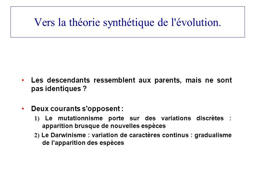 Vers la théorie synthétique de l évolution.
