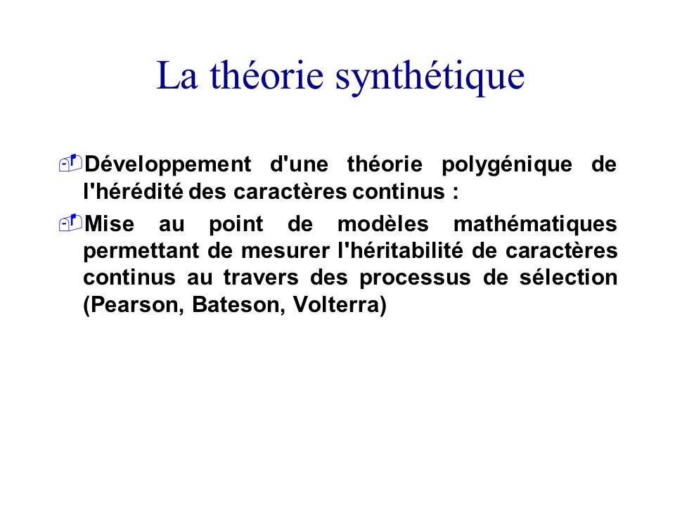 La théorie synthétique