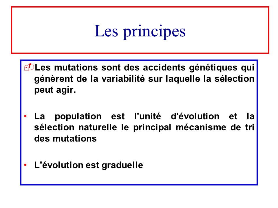 Les principesLes mutations sont des accidents génétiques qui génèrent de la variabilité sur laquelle la sélection peut agir.