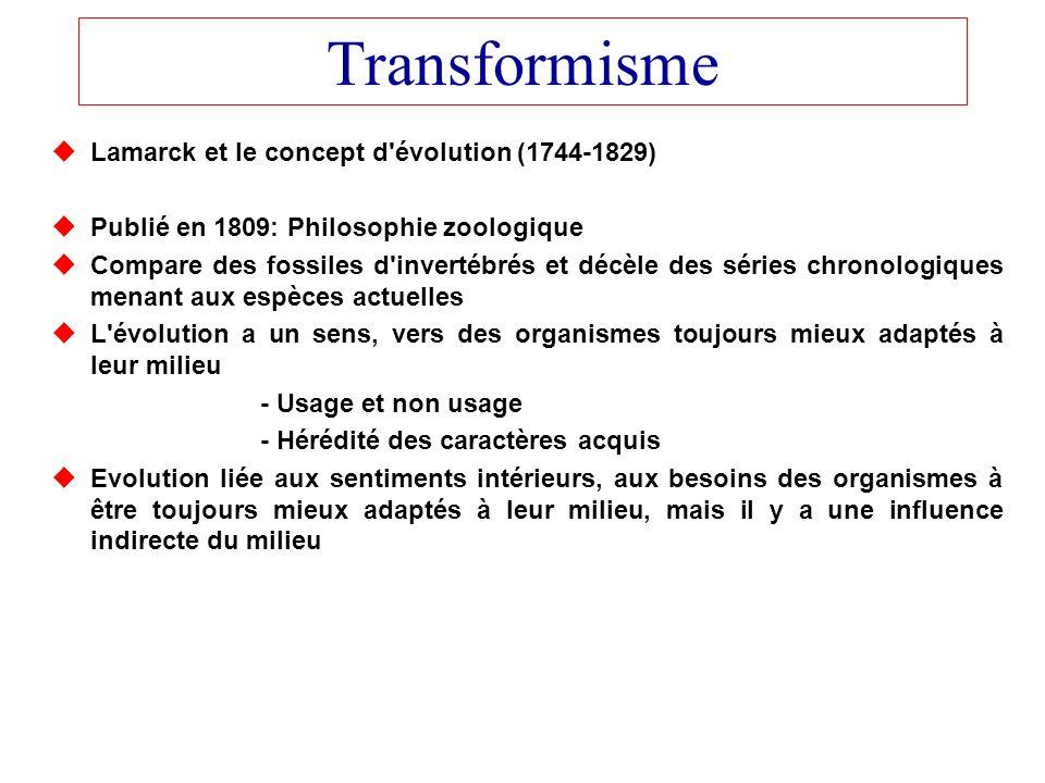 Transformisme Lamarck et le concept d évolution (1744-1829)