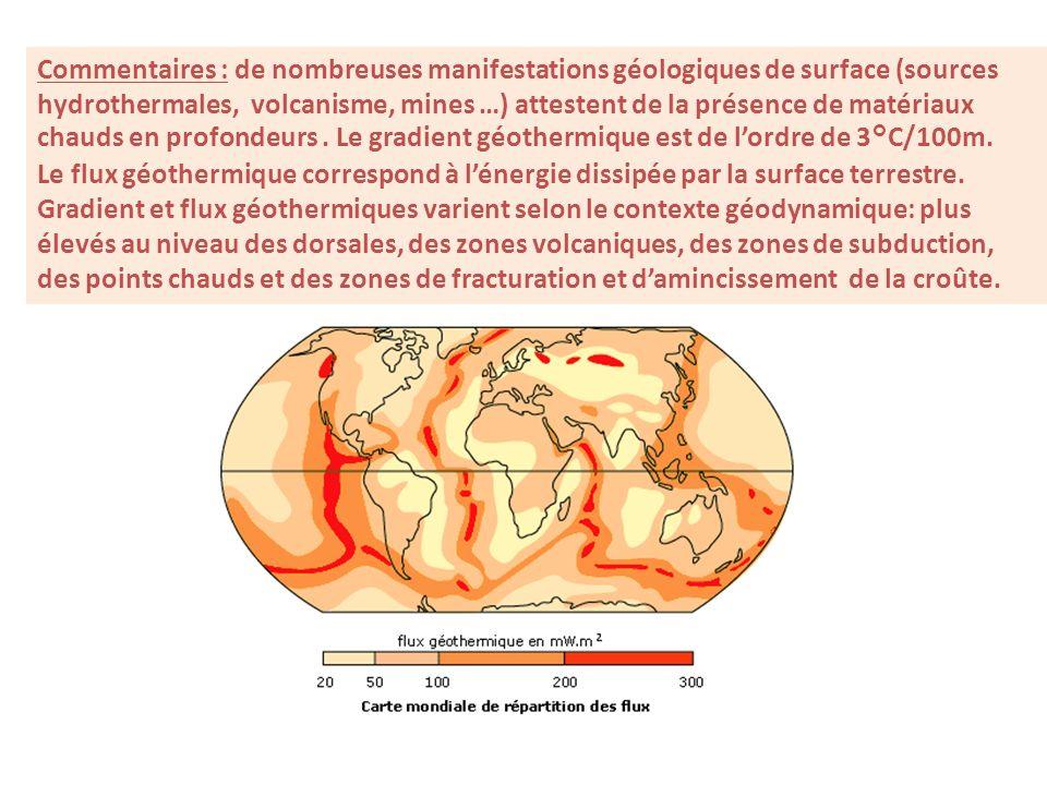 Commentaires : de nombreuses manifestations géologiques de surface (sources hydrothermales, volcanisme, mines …) attestent de la présence de matériaux chauds en profondeurs . Le gradient géothermique est de l'ordre de 3°C/100m.