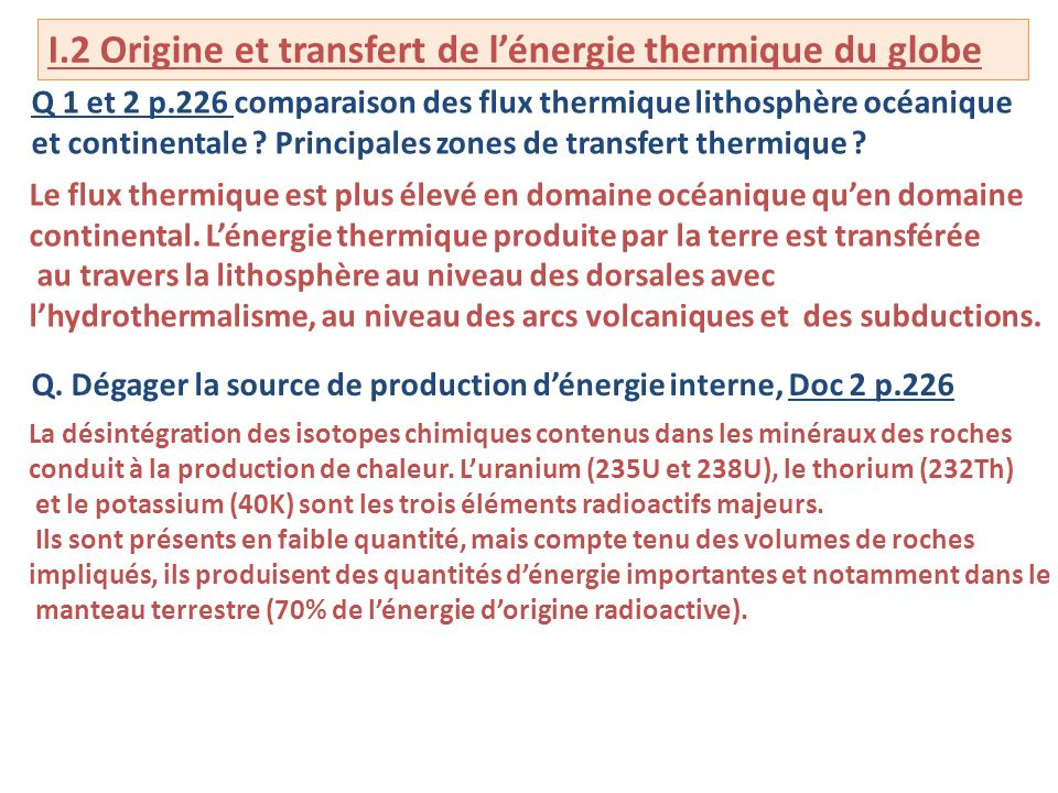I.2 Origine et transfert de l'énergie thermique du globe