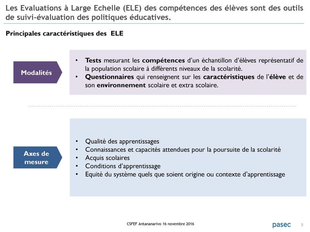 pasec2014 performances des systemes educatifs en afrique subsaharienne francophone comp u00e9tences