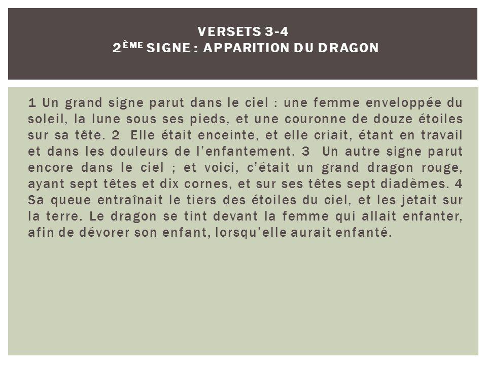 Versets 3-4 2ème signe : apparition du dragon