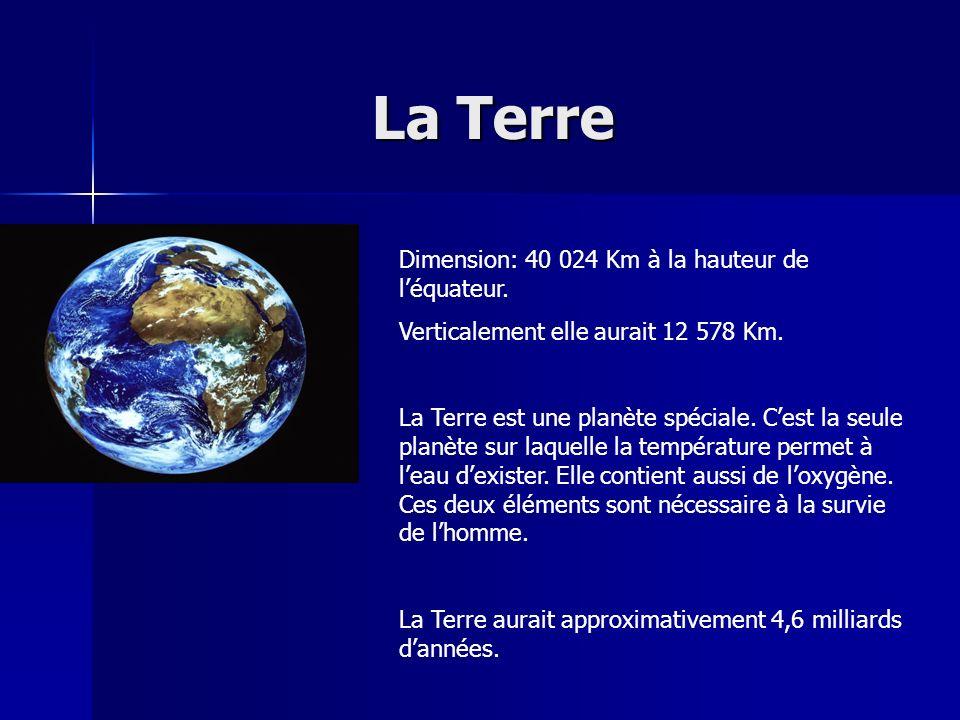 La Terre Dimension: 40 024 Km à la hauteur de l'équateur.