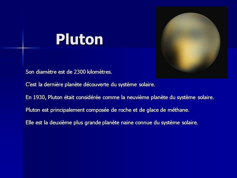 Pluton Son diamètre est de 2300 kilomètres.