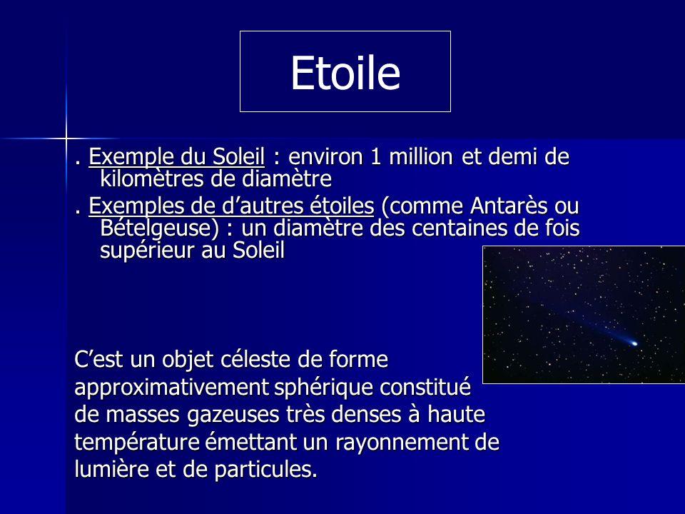 Etoile . Exemple du Soleil : environ 1 million et demi de kilomètres de diamètre.