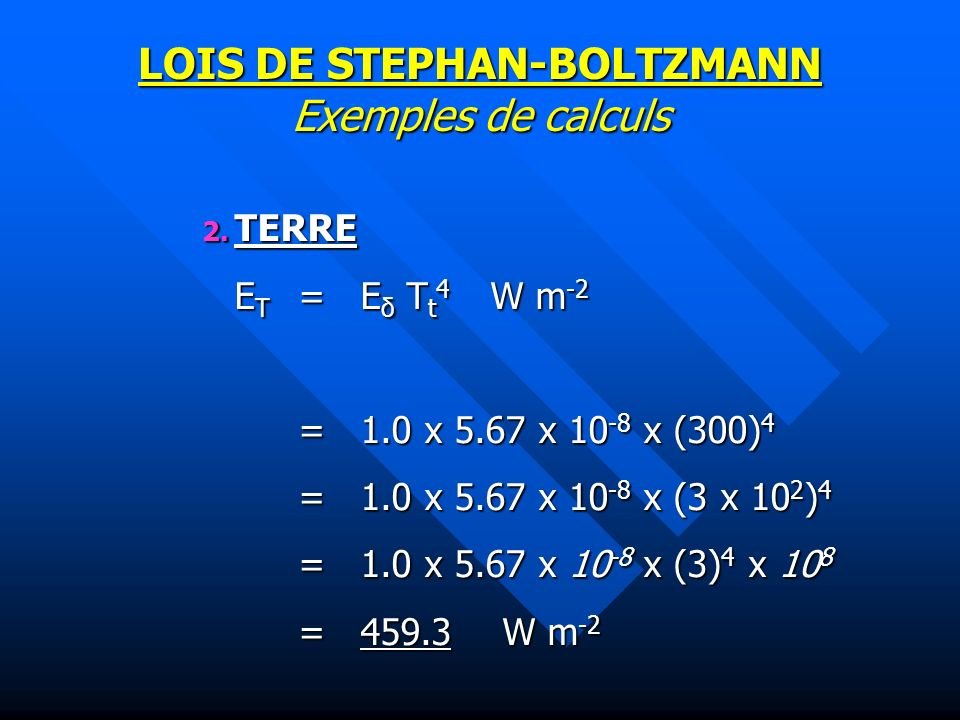 LOIS DE STEPHAN-BOLTZMANN Exemples de calculs