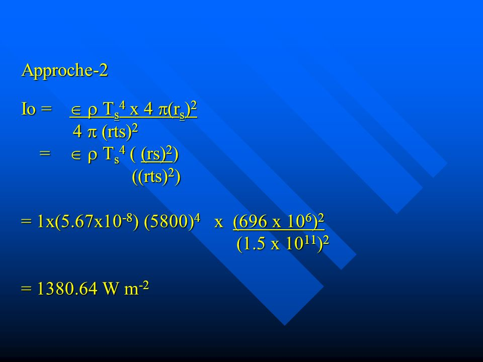 Approche-2 Io =.   Ts4 x 4 (rs)2. 4  (rts)2 =.   Ts4 ( (rs)2)