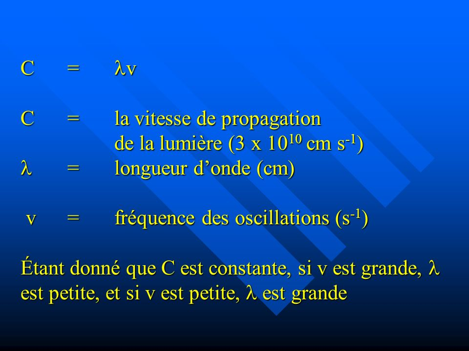 C. =. v C. =. la vitesse de propagation