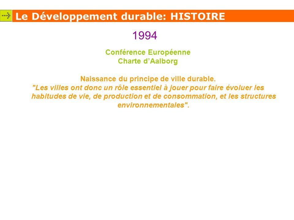 Conférence Européenne Naissance du principe de ville durable.