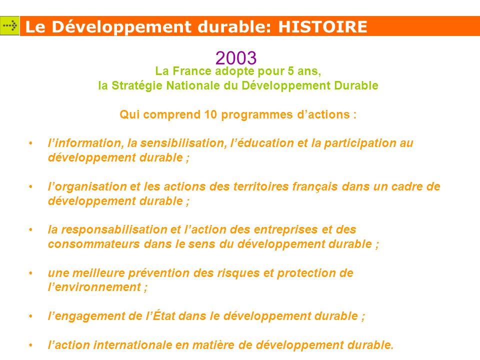 2003 Le Développement durable: HISTOIRE La France adopte pour 5 ans,