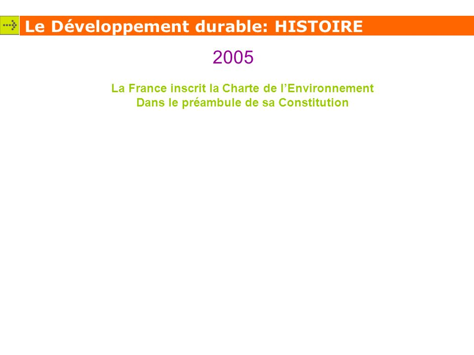 2005 Le Développement durable: HISTOIRE