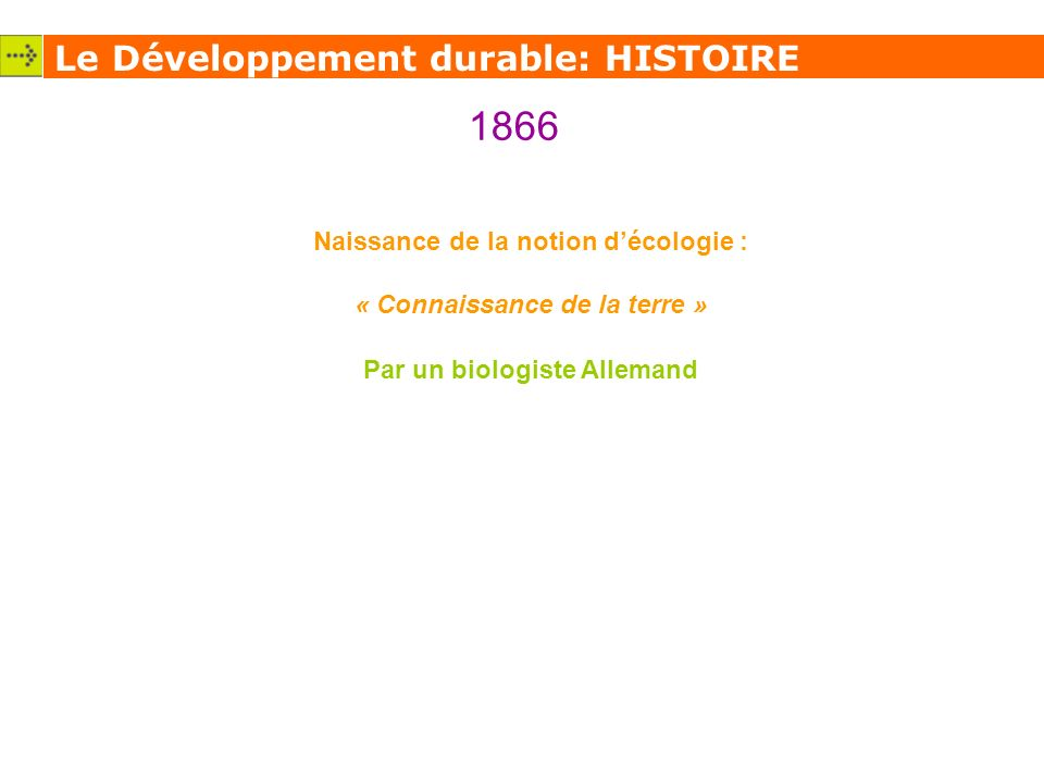 1866 Le Développement durable: HISTOIRE
