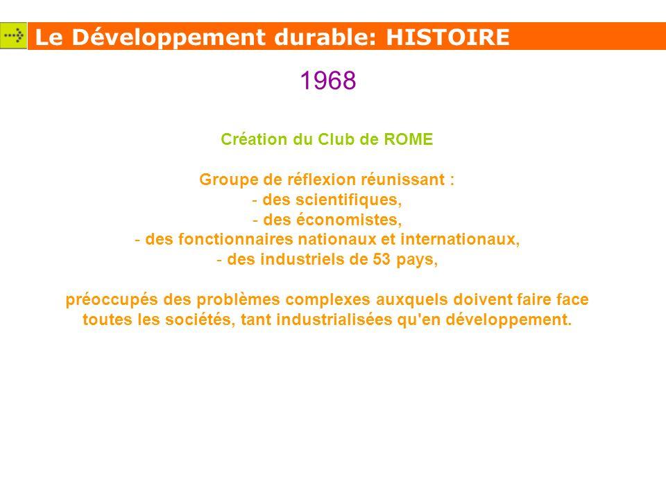 1968 Le Développement durable: HISTOIRE Création du Club de ROME