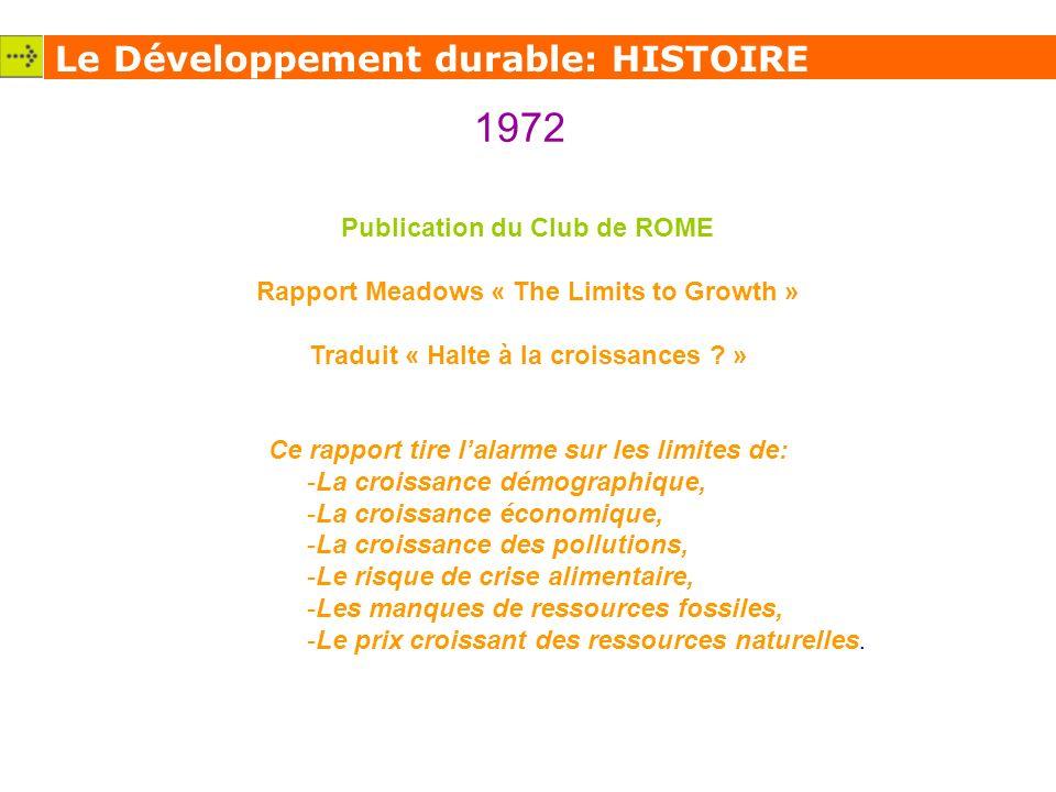 1972 Le Développement durable: HISTOIRE Publication du Club de ROME
